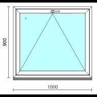 Bukó ablak.  100x 90 cm (Rendelhető méretek: szélesség 95-104 cm, magasság 85- 90 cm.)   Optima 76 profilból