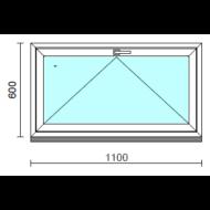 Bukó ablak.  110x 60 cm (Rendelhető méretek: szélesség 105-114 cm, magasság 55- 64 cm.)   Optima 76 profilból