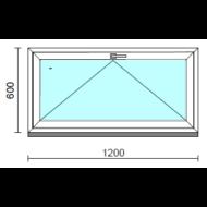 Bukó ablak.  120x 60 cm (Rendelhető méretek: szélesség 115-124 cm, magasság 55- 64 cm.)   Optima 76 profilból