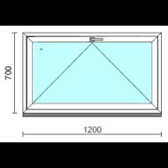 Bukó ablak.  120x 70 cm (Rendelhető méretek: szélesség 115-124 cm, magasság 65- 74 cm.)   Optima 76 profilból