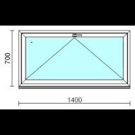 Bukó ablak.  140x 70 cm (Rendelhető méretek: szélesség 135-144 cm, magasság 65- 74 cm.)   Optima 76 profilból
