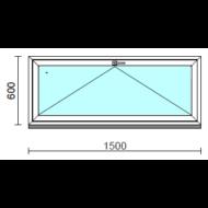 Bukó ablak.  150x 60 cm (Rendelhető méretek: szélesség 145-150 cm, magasság 55- 64 cm.)   Optima 76 profilból