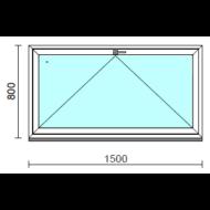 Bukó ablak.  150x 80 cm (Rendelhető méretek: szélesség 145-150 cm, magasság 75- 84 cm.)   Optima 76 profilból