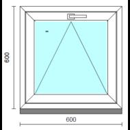 Bukó ablak.   60x 60 cm (Rendelhető méretek: szélesség 55- 64 cm, magasság 55- 64 cm.)   Optima 76 profilból