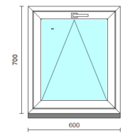 Bukó ablak.   60x 70 cm (Rendelhető méretek: szélesség 55- 64 cm, magasság 65- 74 cm.)  New Balance 85 profilból