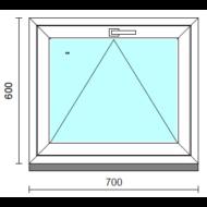Bukó ablak.   70x 60 cm (Rendelhető méretek: szélesség 65- 74 cm, magasság 55- 64 cm.)   Optima 76 profilból