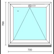 Bukó ablak.   70x 70 cm (Rendelhető méretek: szélesség 65- 74 cm, magasság 65- 74 cm.)   Optima 76 profilból