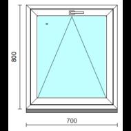 Bukó ablak.   70x 80 cm (Rendelhető méretek: szélesség 65- 74 cm, magasság 75- 84 cm.)   Optima 76 profilból