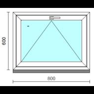 Bukó ablak.   80x 60 cm (Rendelhető méretek: szélesség 75- 84 cm, magasság 55- 64 cm.)   Optima 76 profilból