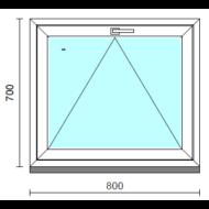 Bukó ablak.   80x 70 cm (Rendelhető méretek: szélesség 75- 84 cm, magasság 65- 74 cm.)   Optima 76 profilból