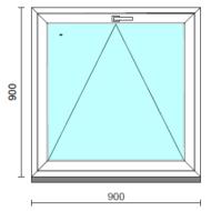 Bukó ablak.   90x 90 cm (Rendelhető méretek: szélesség 85- 94 cm, magasság 85- 90 cm.)   Optima 76 profilból