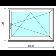 Bukó-nyíló ablak.  100x 70 cm (Rendelhető méretek: szélesség 95-100 cm, magasság - 74 cm.)   Optima 76 profilból