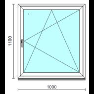 Bukó-nyíló ablak.  100x110 cm (Rendelhető méretek: szélesség 95-104 cm, magasság 105-114 cm.)   Optima 76 profilból