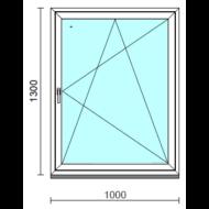 Bukó-nyíló ablak.  100x130 cm (Rendelhető méretek: szélesség 95-104 cm, magasság 125-134 cm.)   Optima 76 profilból