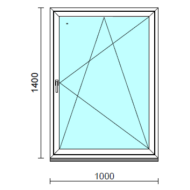 Bukó-nyíló ablak.  100x140 cm (Rendelhető méretek: szélesség 95-104 cm, magasság 135-144 cm.)   Optima 76 profilból
