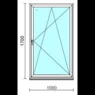 Bukó-nyíló ablak.  100x170 cm (Rendelhető méretek: szélesség 95-104 cm, magasság 165-174 cm.)   Optima 76 profilból