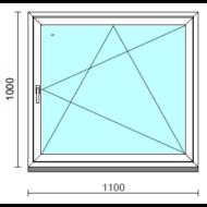 Bukó-nyíló ablak.  110x100 cm (Rendelhető méretek: szélesség 105-114 cm, magasság 95-104 cm.)   Optima 76 profilból