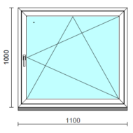 Bukó-nyíló ablak.  110x100 cm (Rendelhető méretek: szélesség 105-114 cm, magasság 95-104 cm.) Deluxe A85 profilból