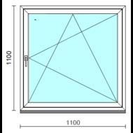 Bukó-nyíló ablak.  110x110 cm (Rendelhető méretek: szélesség 105-114 cm, magasság 105-114 cm.)   Optima 76 profilból