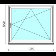 Bukó-nyíló ablak.  120x100 cm (Rendelhető méretek: szélesség 115-124 cm, magasság 95-104 cm.)   Optima 76 profilból