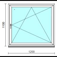 Bukó-nyíló ablak.  120x110 cm (Rendelhető méretek: szélesség 115-124 cm, magasság 105-114 cm.)   Optima 76 profilból