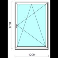 Bukó-nyíló ablak.  120x170 cm (Rendelhető méretek: szélesség 115-124 cm, magasság 165-170 cm.)   Optima 76 profilból