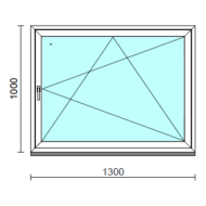 Bukó-nyíló ablak.  130x100 cm (Rendelhető méretek: szélesség 125-134 cm, magasság 95-104 cm.)   Optima 76 profilból