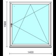Bukó-nyíló ablak.  140x150 cm (Rendelhető méretek: szélesség 135-144 cm, magasság 145-150 cm.)   Optima 76 profilból