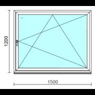 Bukó-nyíló ablak.  150x120 cm (Rendelhető méretek: szélesség 145-150 cm, magasság 115-124 cm.)   Optima 76 profilból