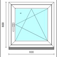 Bukó-nyíló ablak.   60x 60 cm (Rendelhető méretek: szélesség 55- 64 cm, magasság 55- 64 cm.) Deluxe A85 profilból