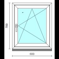 Bukó-nyíló ablak.   60x 70 cm (Rendelhető méretek: szélesség 55- 64 cm, magasság 65- 74 cm.) Deluxe A85 profilból