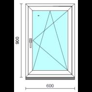 Bukó-nyíló ablak.   60x 90 cm (Rendelhető méretek: szélesség 55- 64 cm, magasság 85- 94 cm.)   Optima 76 profilból