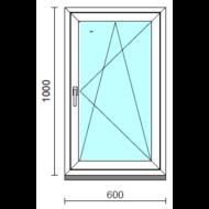 Bukó-nyíló ablak.   60x100 cm (Rendelhető méretek: szélesség 55- 64 cm, magasság 95-104 cm.)   Optima 76 profilból