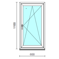 Bukó-nyíló ablak.   60x110 cm (Rendelhető méretek: szélesség 55- 64 cm, magasság 105-114 cm.)   Optima 76 profilból