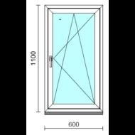 Bukó-nyíló ablak.   60x110 cm (Rendelhető méretek: szélesség 55- 64 cm, magasság 105-114 cm.)  New Balance 85 profilból