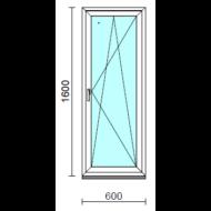 Bukó-nyíló ablak.   60x160 cm (Rendelhető méretek: szélesség 55- 64 cm, magasság 155-164 cm.)   Optima 76 profilból