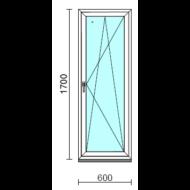 Bukó-nyíló ablak.   60x170 cm (Rendelhető méretek: szélesség 55- 64 cm, magasság 165-174 cm.)   Optima 76 profilból
