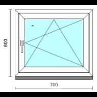 Bukó-nyíló ablak.   70x 60 cm (Rendelhető méretek: szélesség 65- 74 cm, magasság 55- 64 cm.)  New Balance 85 profilból