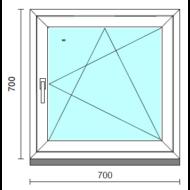 Bukó-nyíló ablak.   70x 70 cm (Rendelhető méretek: szélesség 65- 74 cm, magasság 65- 74 cm.)  New Balance 85 profilból