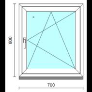 Bukó-nyíló ablak.   70x 80 cm (Rendelhető méretek: szélesség 65- 74 cm, magasság 75- 84 cm.)   Optima 76 profilból