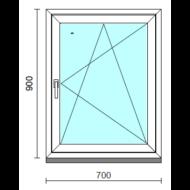 Bukó-nyíló ablak.   70x 90 cm (Rendelhető méretek: szélesség 65- 74 cm, magasság 85- 94 cm.)   Optima 76 profilból