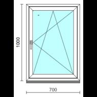 Bukó-nyíló ablak.   70x100 cm (Rendelhető méretek: szélesség 65- 74 cm, magasság 95-104 cm.)   Optima 76 profilból