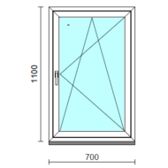 Bukó-nyíló ablak.   70x110 cm (Rendelhető méretek: szélesség 65- 74 cm, magasság 105-114 cm.)  New Balance 85 profilból