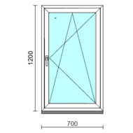 Bukó-nyíló ablak.   70x120 cm (Rendelhető méretek: szélesség 65- 74 cm, magasság 115-124 cm.)  New Balance 85 profilból