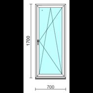 Bukó-nyíló ablak.   70x170 cm (Rendelhető méretek: szélesség 65- 74 cm, magasság 165-174 cm.)   Optima 76 profilból