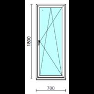Bukó-nyíló ablak.   70x180 cm (Rendelhető méretek: szélesség 65- 74 cm, magasság 175-180 cm.)   Optima 76 profilból