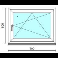 Bukó-nyíló ablak.   80x 60 cm (Rendelhető méretek: szélesség 75- 84 cm, magasság 55- 64 cm.)  New Balance 85 profilból