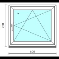 Bukó-nyíló ablak.   80x 70 cm (Rendelhető méretek: szélesség 75- 84 cm, magasság 65- 74 cm.)   Optima 76 profilból