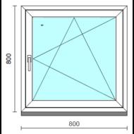 Bukó-nyíló ablak.   80x 80 cm (Rendelhető méretek: szélesség 75- 84 cm, magasság 75- 84 cm.)   Optima 76 profilból