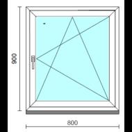 Bukó-nyíló ablak.   80x 90 cm (Rendelhető méretek: szélesség 75- 84 cm, magasság 85- 94 cm.)   Optima 76 profilból